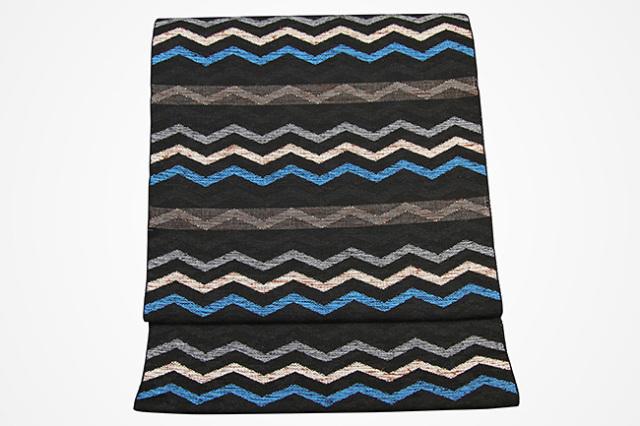 米沢織  彩華 八寸名古屋帯 ギザギザ 黒×水色 お仕立て付き