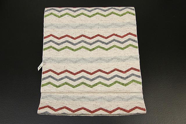 米沢織  彩華 八寸名古屋帯 ギザギザ 赤×灰×緑 お仕立て付き