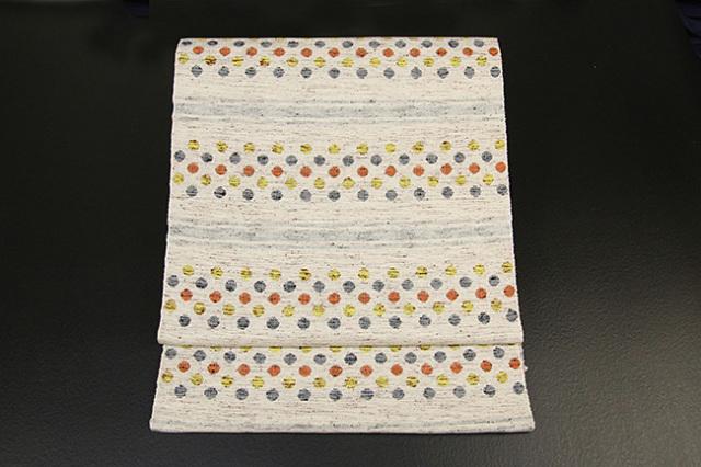 米沢織  ほほえみ 八寸名古屋帯 ドット 橙×黄 お仕立て付き