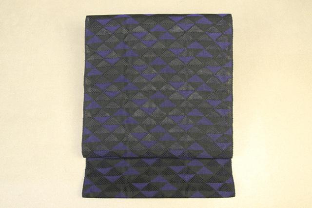 米沢織 紙布 八寸名古屋帯 浮舟 三角 黒 お仕立付き