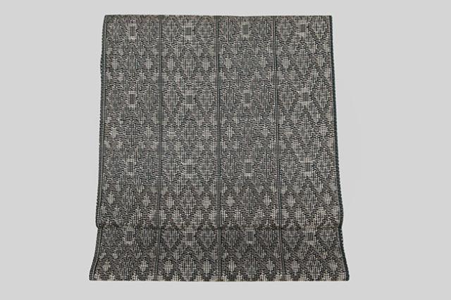 米沢織 紙布 八寸名古屋帯 四季彩彩 菱形 深緑×黒 お仕立付き