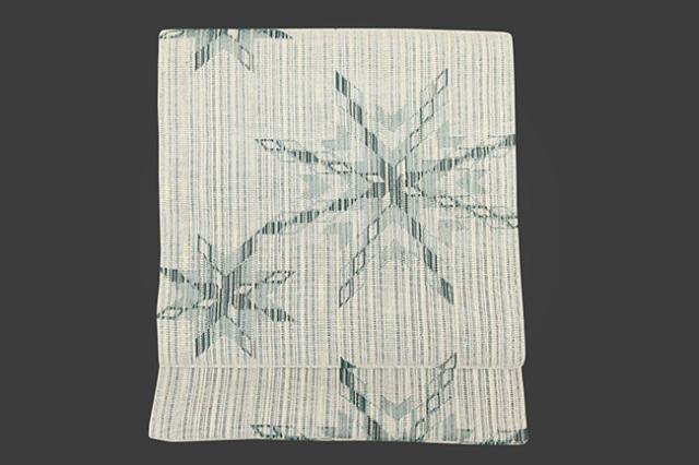 米沢織 紙布 八寸名古屋帯 ミラージュ 結晶 緑 お仕立付き