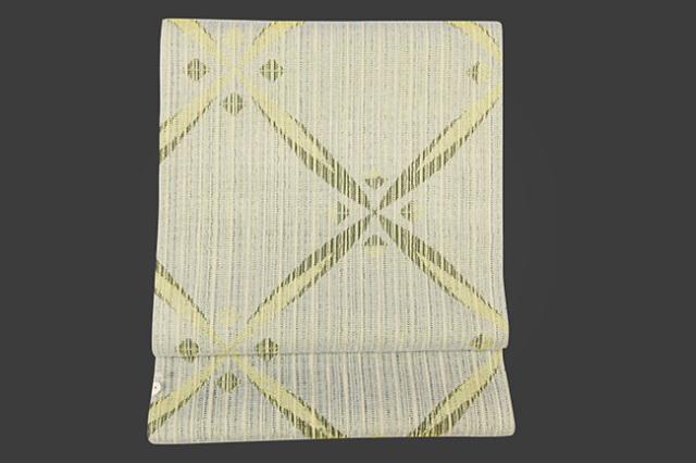 米沢織 紙布 八寸名古屋帯 ミラージュ 網目 黄 お仕立付き