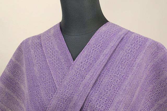 夏着物・浴衣(ゆかた) 超長綿 オーダー仕立て付き 寄せ柄 紫 ◆男女兼用◆