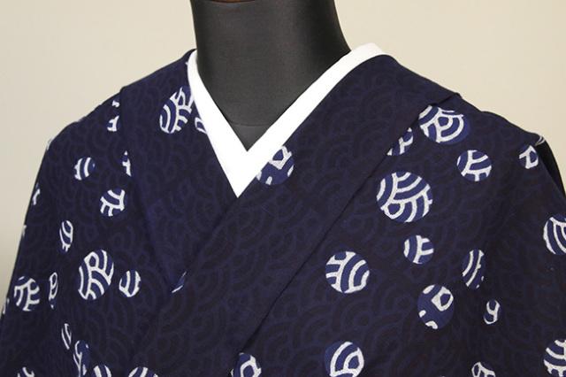 浜松注染 綿着物 浴衣 水玉青海波 紺×白 オーダー仕立て付き