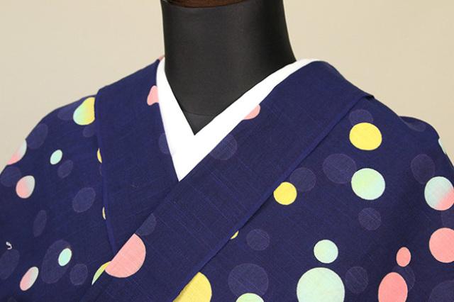 浜松注染 綿着物 浴衣 水玉 カラフル オーダー仕立て付き