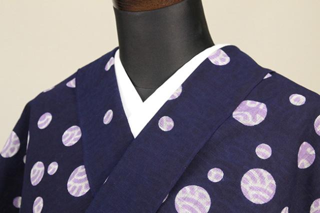 浜松注染 綿着物 浴衣 水玉青海波 藤色×白 オーダー仕立て付き