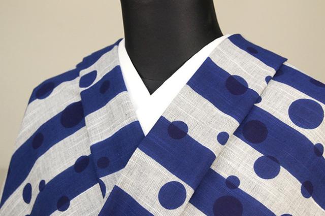 浜松注染 綿着物 浴衣 水玉 ストライプ 青×灰 オーダー仕立て付き