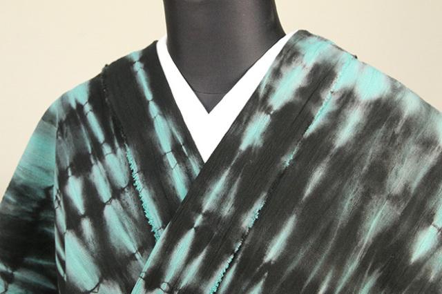 綿ちりめん 浴衣(ゆかた) オーダー仕立て付き ひでや工房 絞り柄 緑×黒◆女性にオススメ◆