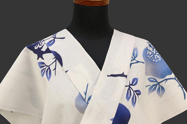 IKS浴衣(ゆかた) オーダー仕立て付き 綿麻 石榴 白×青 女性にオススメ