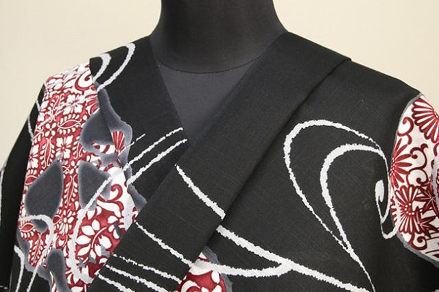 itomi浴衣(ゆかた) オーダー仕立て付き 木綿 髑髏更紗 黒×赤 ◆男女兼用◆