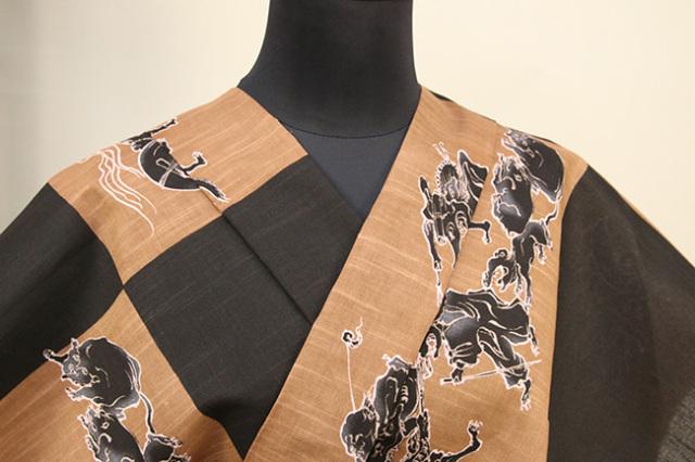 itomi浴衣(ゆかた) オーダー仕立て付き 木綿 百鬼夜行 茶×黒 ◆男女兼用◆
