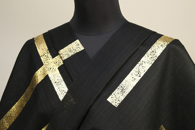 誉田屋源兵衛 綿麻浴衣(ゆかた) オーダー仕立て付き 破れ格子 黒×金◆男女兼用◆