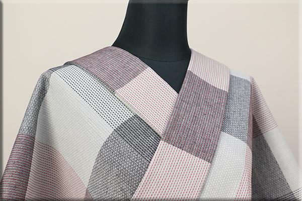 遠州木綿 刺し子風 木綿着物 オーダーお仕立て付き グレー ◆男女兼用◆