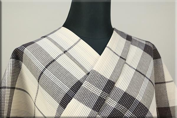 遠州木綿 刺し子風 木綿着物 オーダーお仕立て付き チェック 白黒 ◆男女兼用◆.