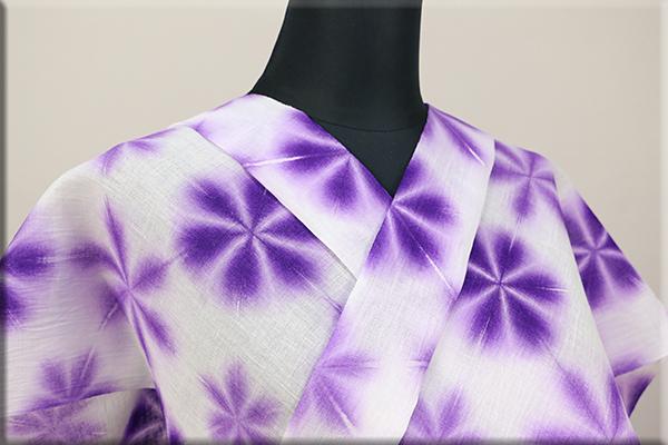 雪花絞浴衣(ゆかた) 綿麻 オーダー仕立て付き 藤井絞  紫 ◆女性にオススメ◆