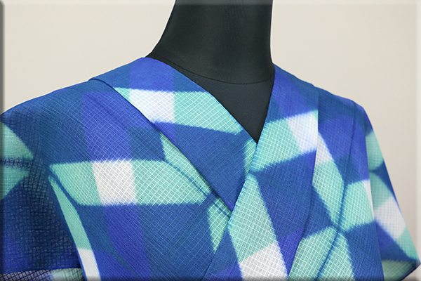 板締め絞浴衣(ゆかた) 綿麻紅梅 オーダー仕立て付き 藤井絞  青x緑 ◆女性にオススメ◆