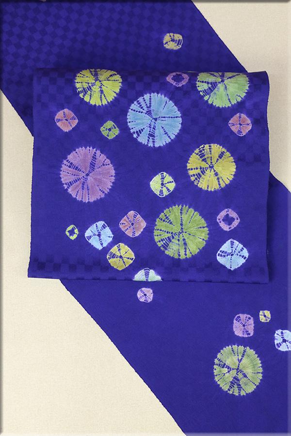 hibicolle ヒビコレ オーダーお仕立て付き 正絹博多九寸名古屋帯 コスモ 青紫