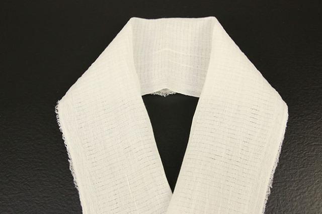 本麻 白絽 半襟 家庭で洗える半衿(はんえり) 新潟県小千谷製