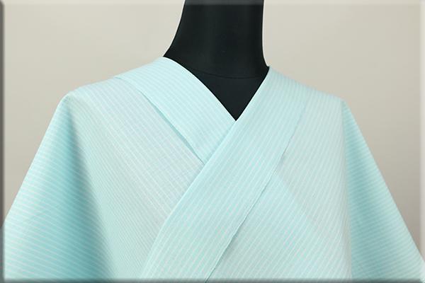 絹木綿着物 オーダーお仕立付き 洗える普段着着物 広幅 万筋 薄水色 ◆男女兼用◆