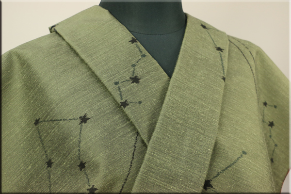 小紋 正絹紬 オーダーお仕立て付き(袷仕立て) 星占い うぐいす色