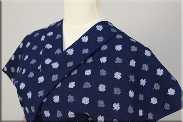久留米絣 木綿着物 オーダーお仕立て付き 普段着きもの 縦絣 ドット7花紺 ◆女性にオススメ◆