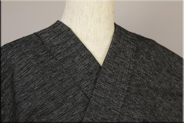 三河木綿 オーダーお仕立付き 洗える普段着着物 あつみ No.01 黒白 ◆男女兼用◆