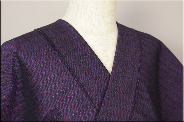 三河木綿 オーダーお仕立付き 洗える普段着着物  厚地 No.10 紫系 ◆男女兼用◆