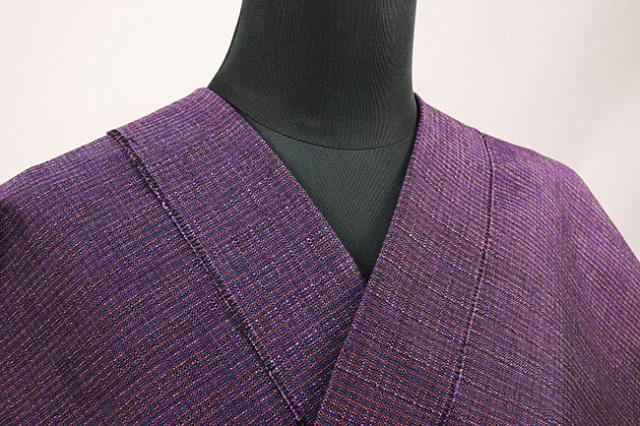 三河木綿 オーダーお仕立付き 洗える普段着着物 あつみ No.22 赤紫 ◆男女兼用◆