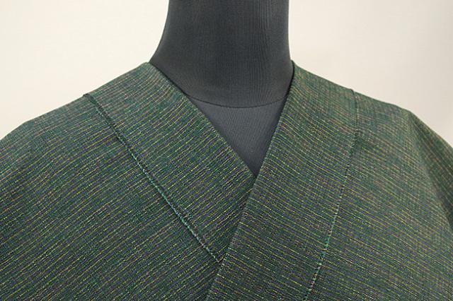 三河木綿 オーダーお仕立付き 洗える普段着着物 あつみ No.24 緑 ◆男女兼用◆