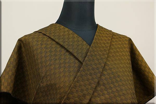 三河木綿 オーダーお仕立付き 洗える普段着着物  中厚地 チェッカーボード 金茶 S-5 ◆男女兼用◆