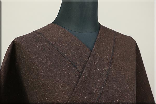 三河木綿 オーダーお仕立付き 洗える普段着着物 ネップ 茶 No.N-02 ◆男女兼用◆