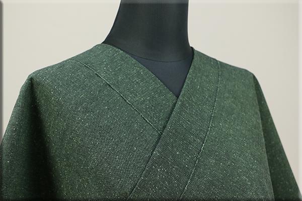 三河木綿 オーダーお仕立付き 洗える普段着着物 ネップ 緑 No.N-03 ◆男女兼用◆