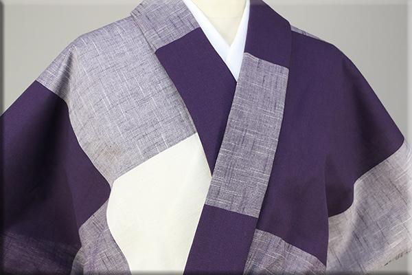 片貝木綿 紺仁工房 木綿着物 オーダーお仕立て付き 大格子 紫白