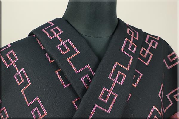 Kimono Factory nono 木綿着物 オーダーお仕立て付き GRITTER(グリッター)雷紋 黒