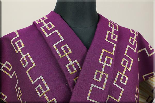 Kimono Factory nono 木綿着物 オーダーお仕立て付き GRITTER(グリッター)雷紋 ワイン