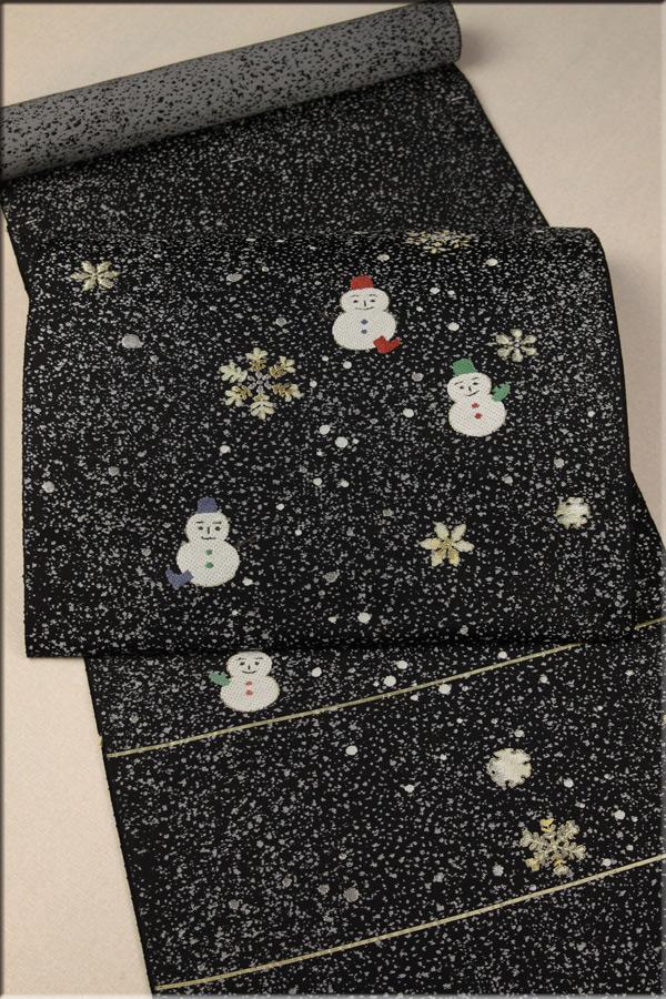 お洒落な名古屋帯・雪の世界♪ 結晶と雪だるま お仕立て付き 西陣織