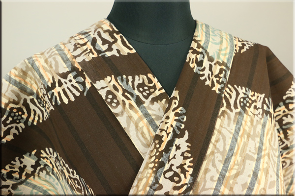 ルミロックx遠州木綿着物 注染 オーダーお仕立て付き RUMI ROCK 丸紋鳳凰更紗 栗茶縞