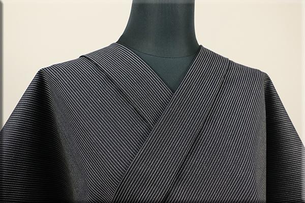 ウール着物 オーダーお仕立て付き 六〇双糸 暖かい普段着きもの 黒 ストライプ ◆男女兼用◆