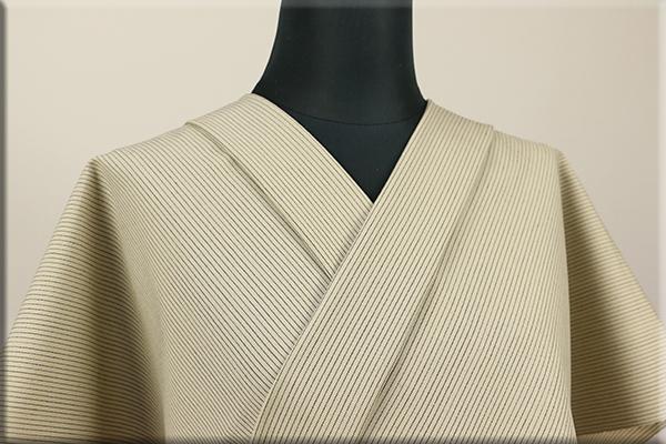 ウール着物 オーダーお仕立て付き 六〇双糸 暖かい普段着きもの ベージュ ストライプ ◆男女兼用◆