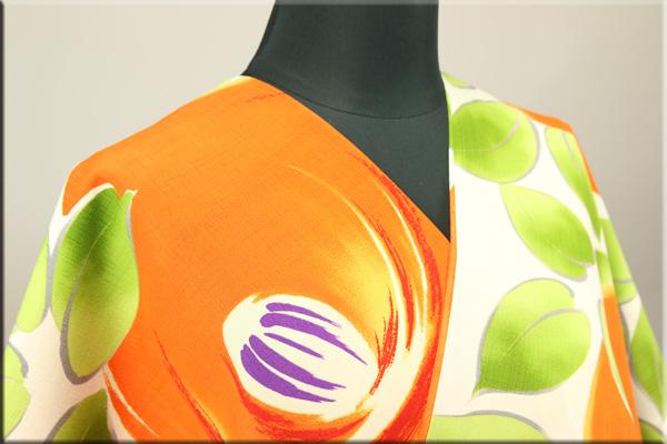 和風館 浴衣(ゆかた) オーダー仕立て付き まんまる椿 オレンジ 5WY-15