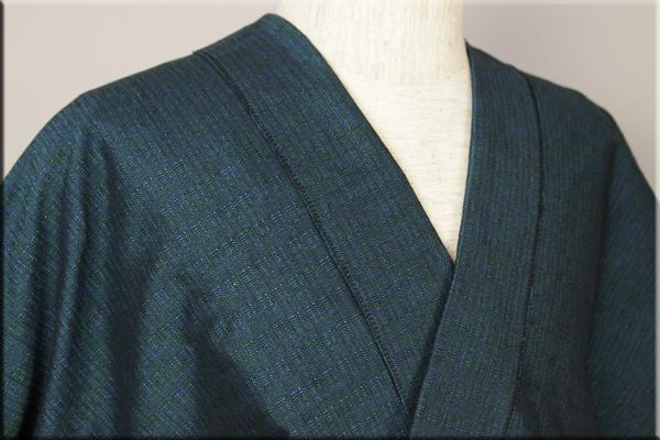 三河木綿 オーダーお仕立付き 洗える普段着着物  厚地 No.17 青緑系 ◆男女兼用◆