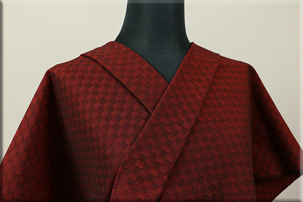 三河木綿 オーダーお仕立付き 洗える普段着着物  中厚地 チェッカーボード 赤 S-1 ◆男女兼用◆