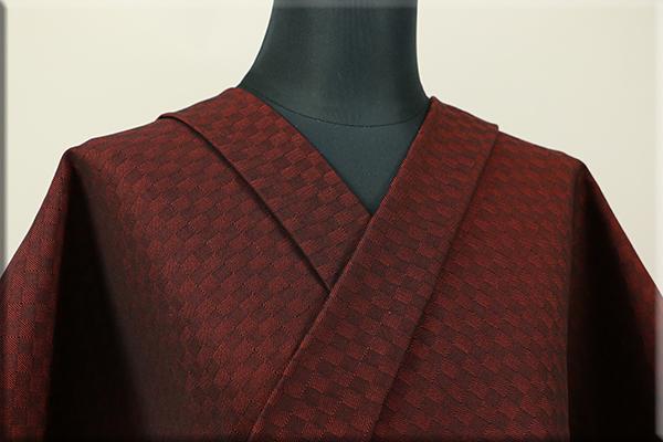 三河木綿 オーダーお仕立付き 洗える普段着着物  中厚地 チェッカーボード 赤茶 S-3 ◆男女兼用◆