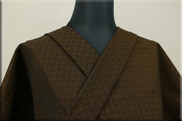 三河木綿 オーダーお仕立付き 洗える普段着着物  中厚地 チェッカーボード 茶 S-4 ◆男女兼用◆