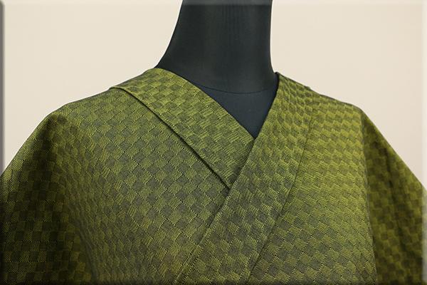 三河木綿 オーダーお仕立付き 洗える普段着着物  中厚地 チェッカーボード 黄緑 S-10 ◆男女兼用◆
