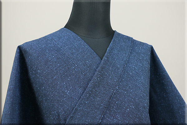三河木綿 オーダーお仕立付き 洗える普段着着物 ネップ 青 No.N-04 ◆男女兼用◆