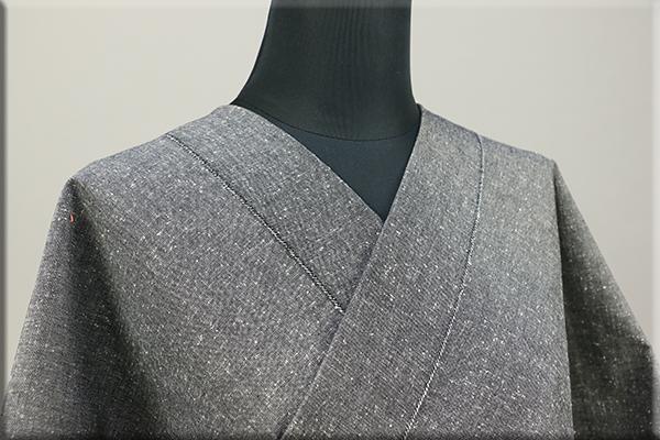 三河木綿 オーダーお仕立付き 洗える普段着着物 ネップ グレー No.N-05 ◆男女兼用◆