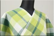 片貝木綿 紺仁工房 木綿着物 オーダーお仕立て付き 普段着きもの チェック 緑系 ◆男女兼用◆