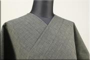 片貝木綿 紺仁工房 木綿着物 オーダーお仕立て付き 普段着きもの 網代模様 グレー ◆男女兼用◆